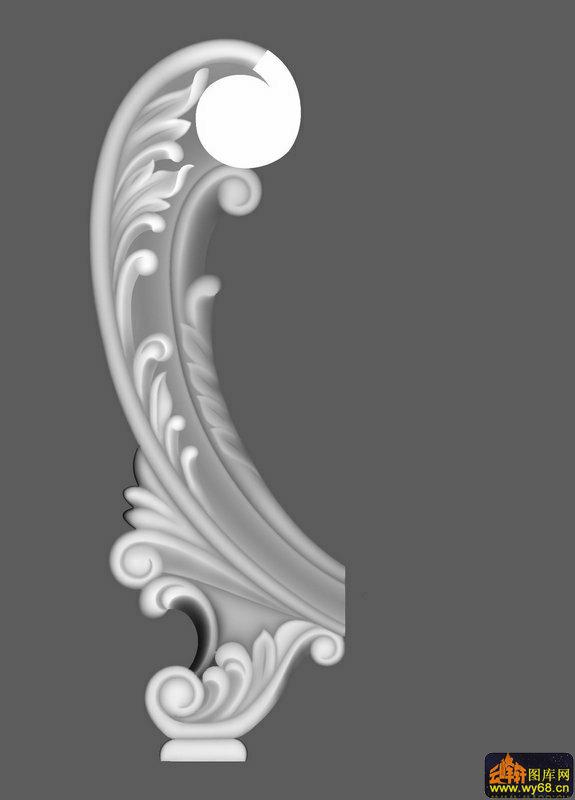 洋花床头屏边柱-玉石灰度图