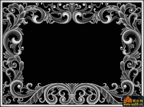 西洋花边框-灰度图库素材-灰度图,bmp图,浮雕图,云峰