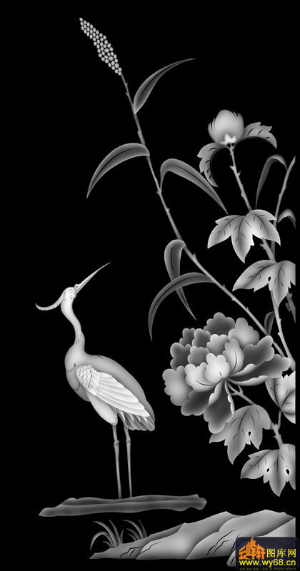 仙鹤 牡丹-灰度图