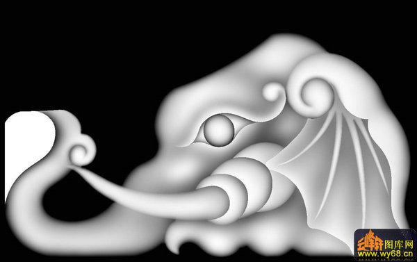 大象头-欧式浮雕灰度图
