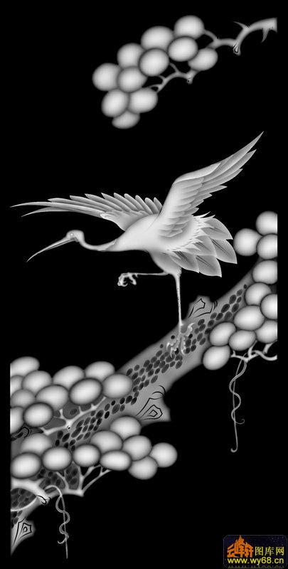 仙鹤 松树-精雕灰度图