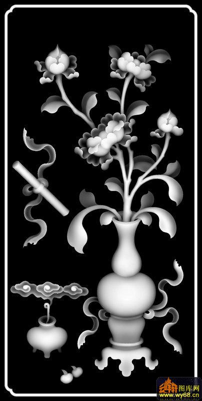 牡丹花 花瓶-浮雕图案