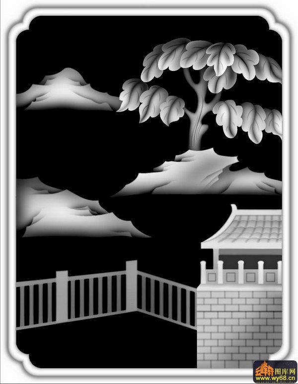 山水庭院-欧式浮雕灰度图