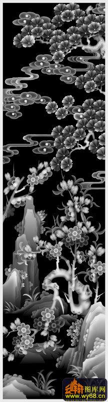 山水梅松花鸟屏风-木雕灰度图