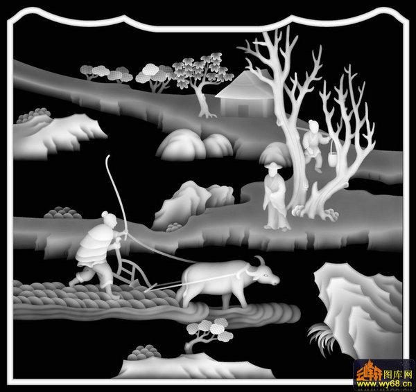 山水农耕图靠背-木雕灰度