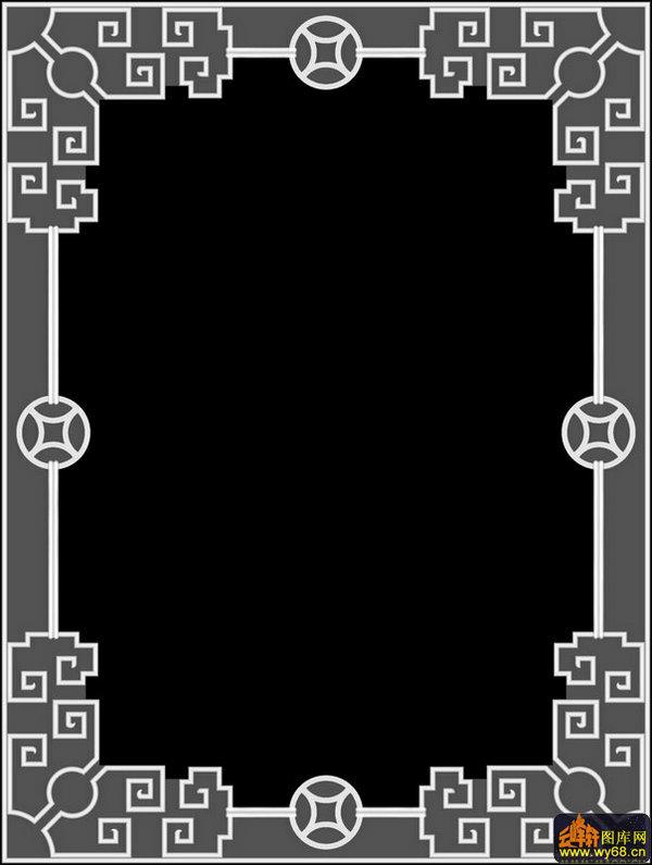 回字纹铜钱边框-灰度图电脑雕刻图