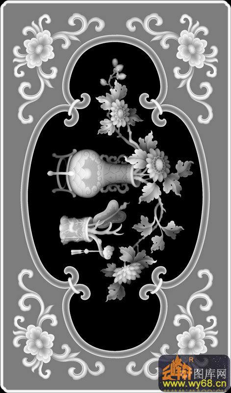 花瓶 扇子 花纹-浮雕图案