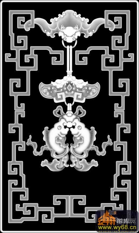 卡通动物 头像-欧式洋花浮雕灰度图