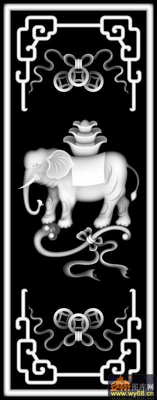 大象 元宝 花纹 如意-电脑雕刻图