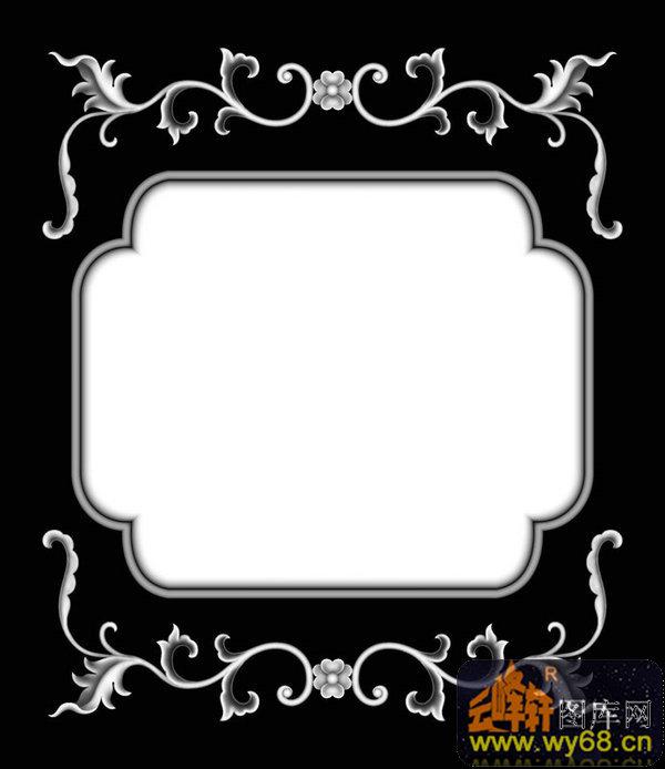 花纹 边框-石雕灰度图
