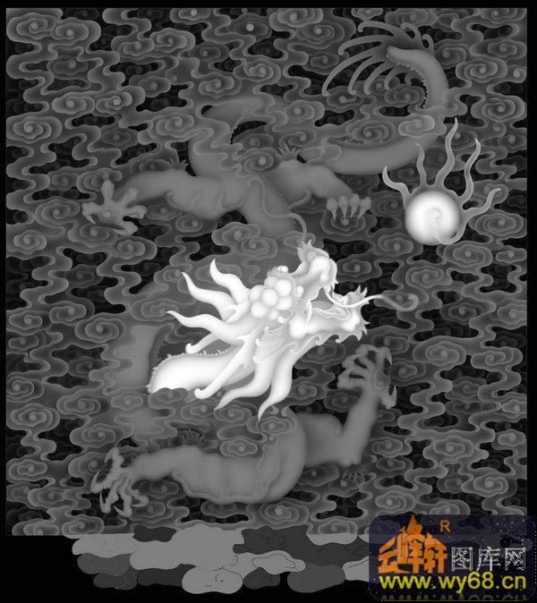 龙戏珠 云-欧式洋花浮雕灰度图