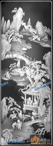 01-亭台楼阁-027-风景雕刻灰度图