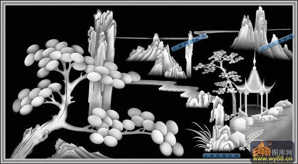 04-宝塔-002-山水浮雕灰度