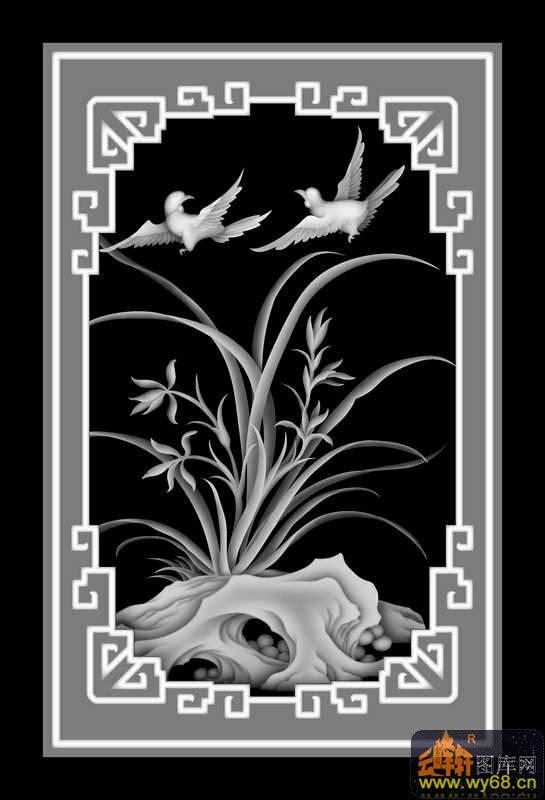 兰花 鸟 回纹-木雕灰度图