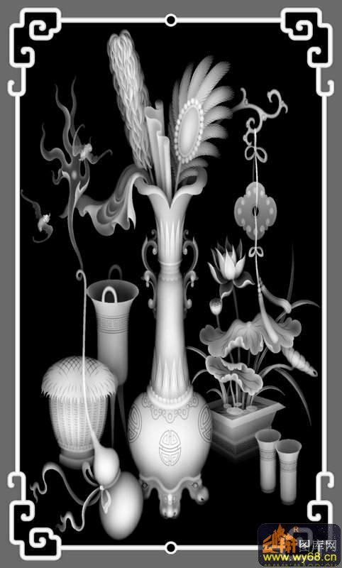 葡萄-欧式洋花浮雕灰度