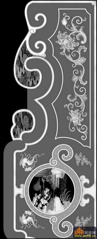 山水 凉亭 树-灰度图库素材