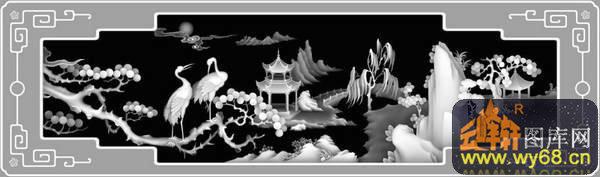 凉亭 山水 树 仙鹤-欧式洋花浮雕灰度图
