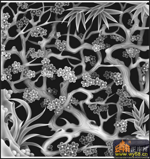 花 花纹 花钩-雕刻灰度图
