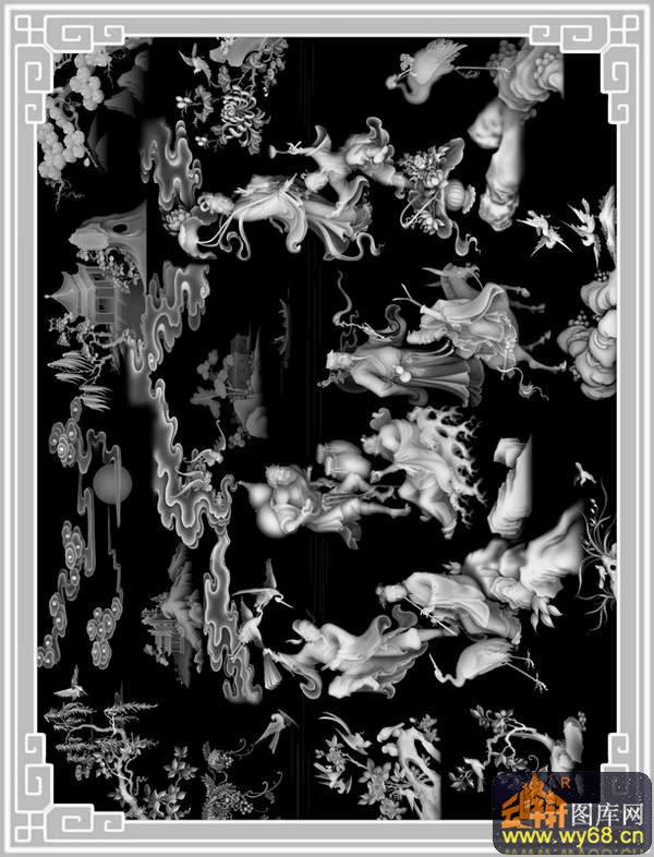 八仙过海 云 仙鹤 树-灰度图库素材