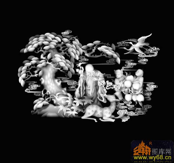 童叟无欺 神仙 树 仙鹤 鹿-欧式洋花浮雕灰度图