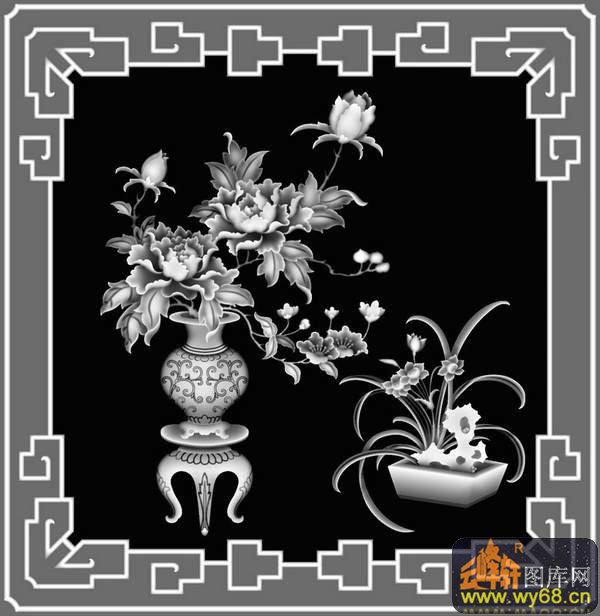 牡丹花 花瓶-雕刻灰度图