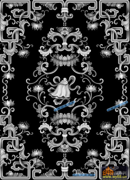 05-古花纹-029-花鸟综合浮雕图库-灰度图