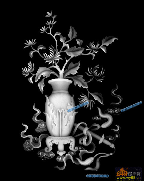 四季平安花-菊花-四季平安花综合精雕灰度图