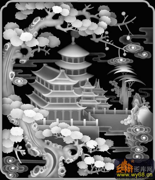 山水 宝塔 树-浮雕灰度