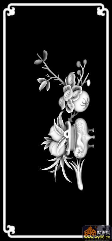 物-木雕灰度图                                            花 花纹