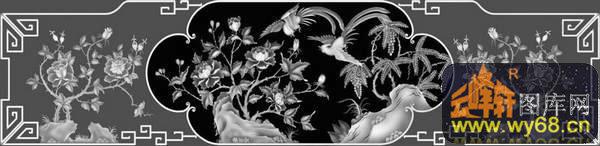 欧式洋花浮雕灰度图图片