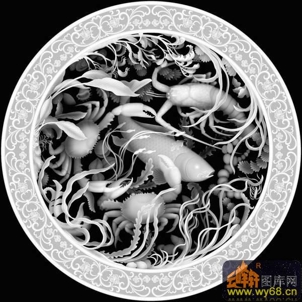 凤凰 牡丹花 回纹边框 圆-灰度图电脑雕刻图