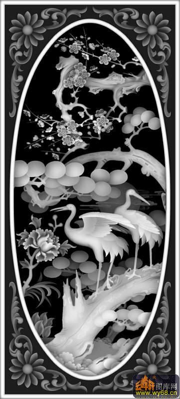 松树 仙鹤-玉石灰度图