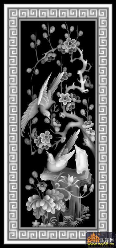 梅花 鸟 回纹边框-浮雕图案
