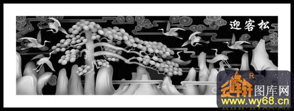 迎客松 松树 仙鹤-雕刻灰度图