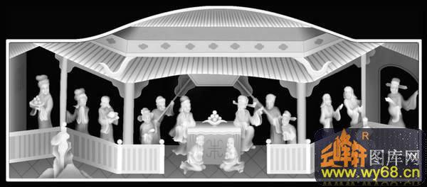 蟠桃会 人物 房屋-欧式洋花浮雕灰度图