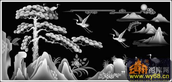 迎客松 松树 仙鹤-石雕灰度图