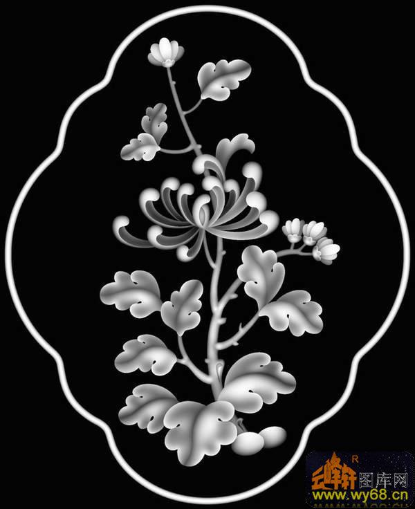 花圆 花纹边-浮雕图案