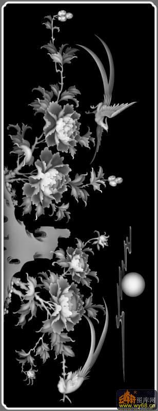 牡丹花 鸟-雕刻灰度图
