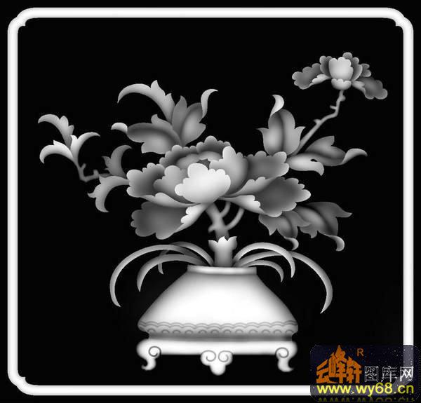牡丹花 花瓶-电脑雕刻图