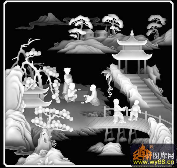 山水 树 凉亭-欧式洋花浮雕灰度图