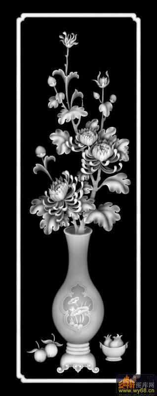 花瓶-欧式洋花浮雕灰度图