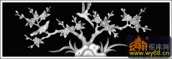 花鸟 凤凰-木雕灰度图-灰度图,bmp图,浮雕图,云峰轩