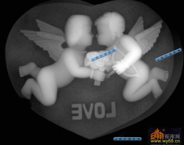 石雕-小天使-018-浮雕灰度图