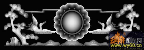 松树 仙鹤-石雕灰度图