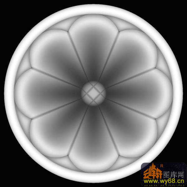 花 花纹 圆-灰度图