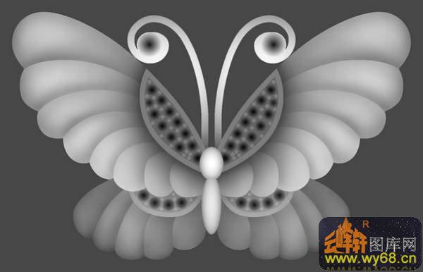 福圆-欧式洋花浮雕灰度图