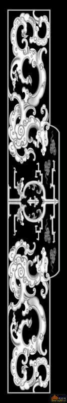 双龙 花纹-灰度图库素材