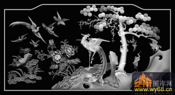 松树 荷花 鸟 凤凰 仙鹤-玉石灰度图