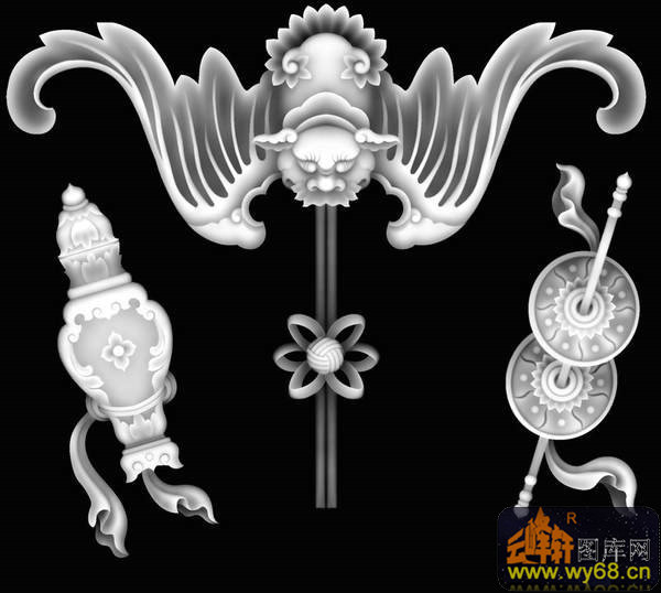 蝙蝠 铜钱 花瓶-浮雕图案