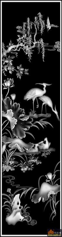 树 荷花 仙鹤 鸳鸯-石雕灰度图